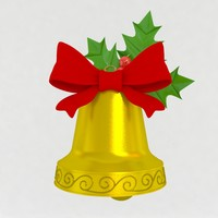 3d obj gold christmas bell