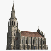 3d model old gothic church