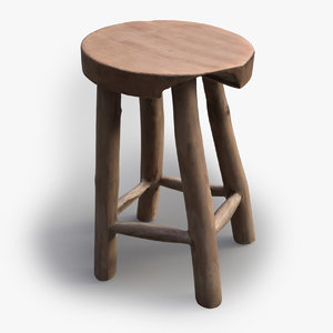 3ds max scandinavian vintage wood stool