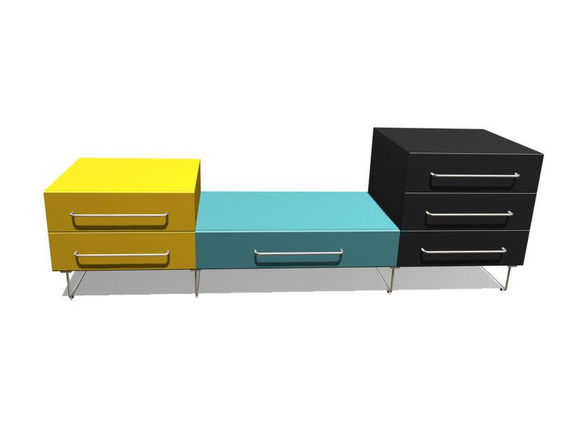 plan 5 cabinets 3d model