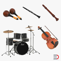 Musical Instruments 3D Models Collection