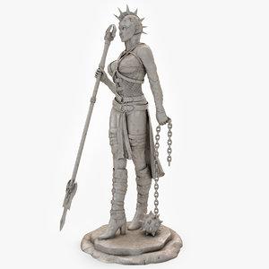 3d model woman warrior