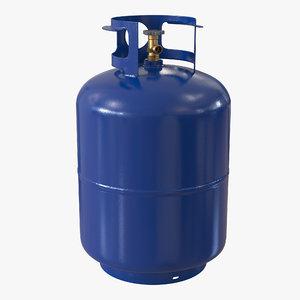 3d gas cylinder blue model