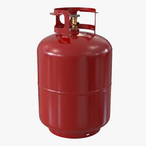 3d model gas cylinder red
