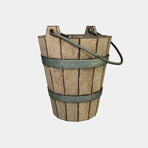 wooden old bucket 3d obj