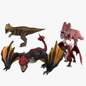 dinosaurs dragons toys 3d model