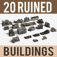 Ruined Damaged Buildings Collection 4