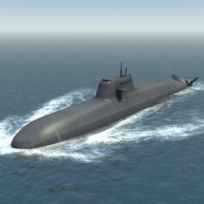 3d model of type 212 attack submarine
