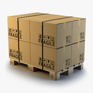 c4d wooden pallet cardboard boxes