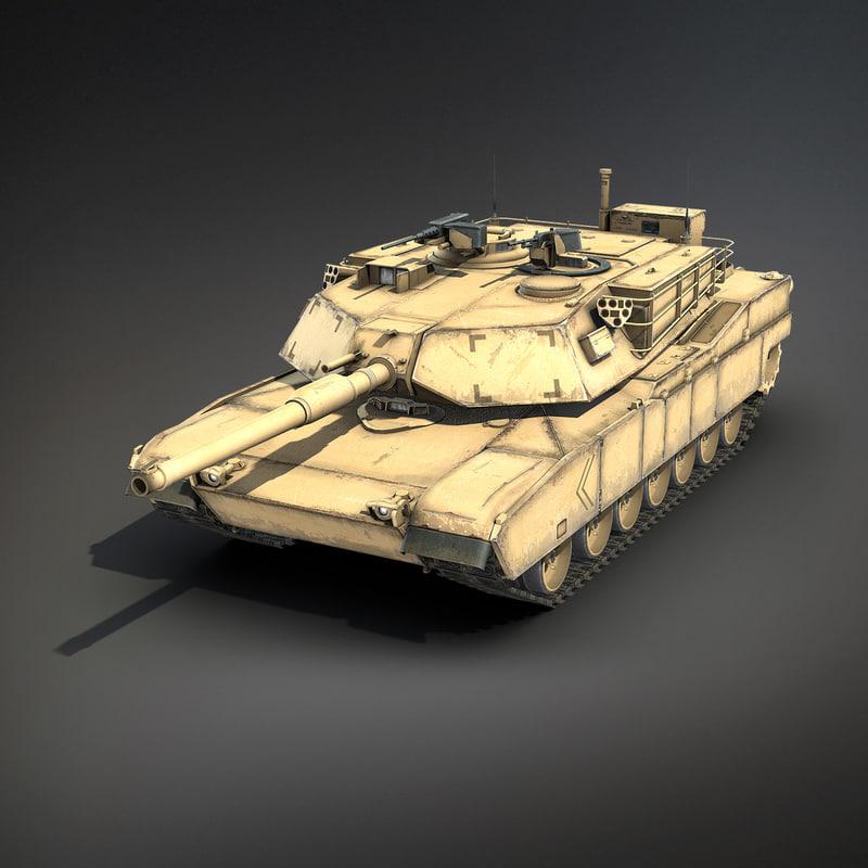 3d low-poly battle tank m1a1 abrams