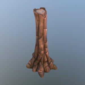 3d cartoon tree stump