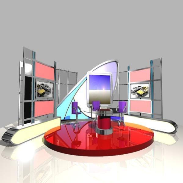 3d model news studio 005 tv