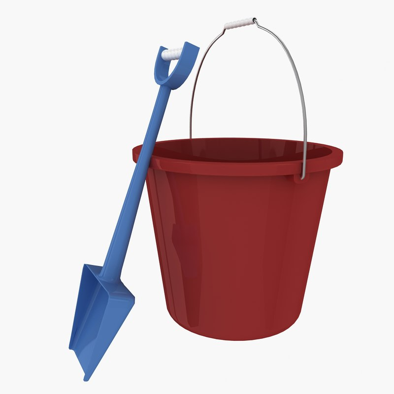 plastic bucket shovel 3ds