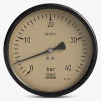 3d model vintage meter