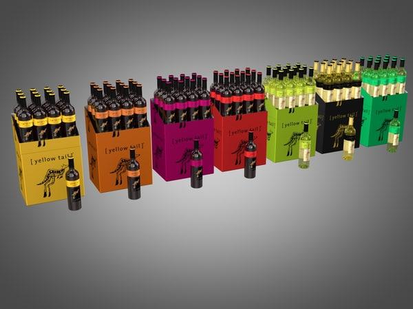 3ds max yellowtail wine bottles
