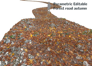 forest road autumn 16k 3d model