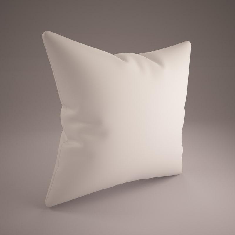 white pillow 70x70cm 3d model