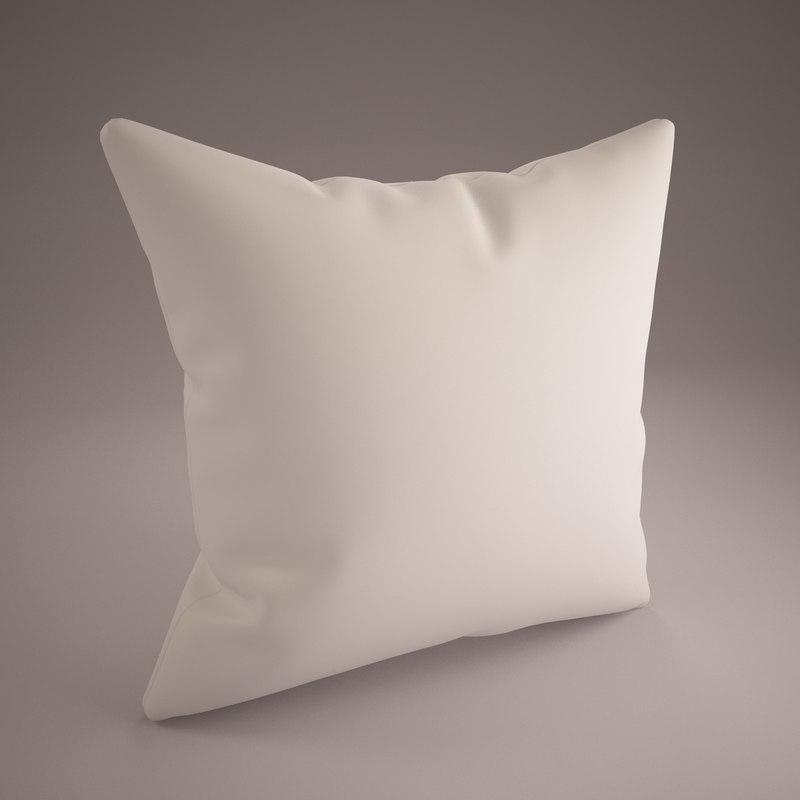 white pillow 60x60cm 3ds