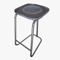 rusty metal barchair 3ds