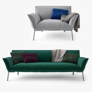 3d model jardan lewis sofa armchair