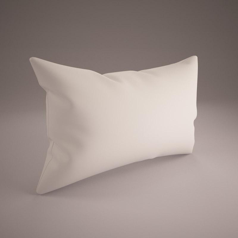 white pillow 40x60cm 3d model
