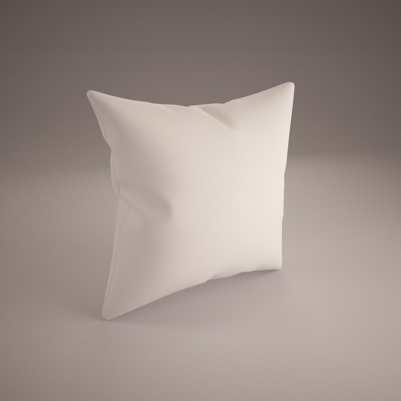 white pillow 40x40cm 3d 3ds