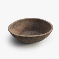 3d model antique wood bowl