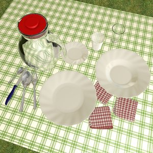 3d model of tableware dishes