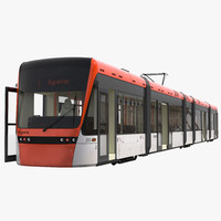 Light Rail Train Bybanen Rigged 3D Model