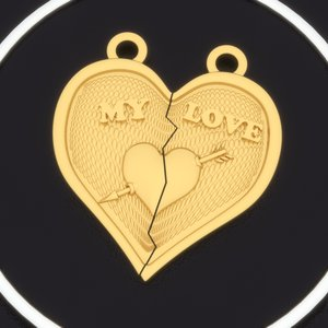 broken heart pendant 3d model