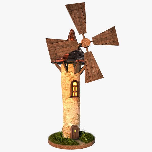 3d windmill plants model
