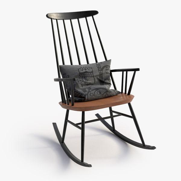 3d model scandinavian rocking chair