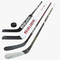 3d model bauer hockey sticks puck