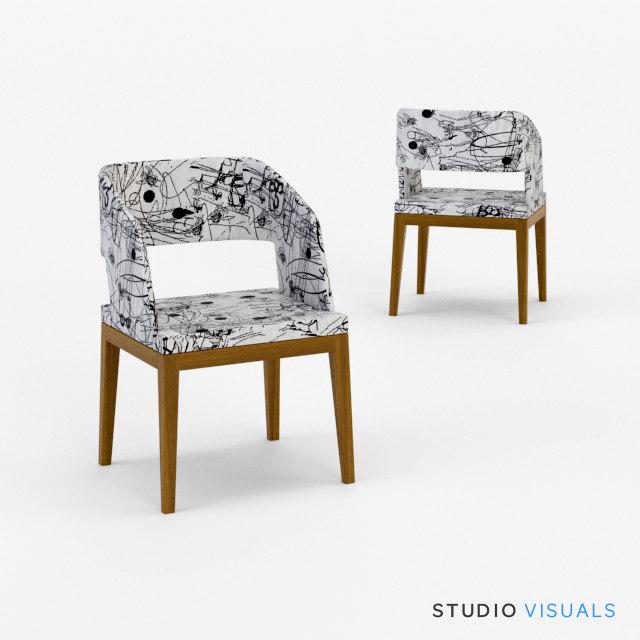3d model of groove armchair