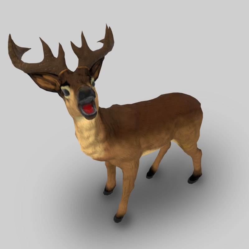 deer animal mammal 3d model