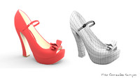 red woman shoe 3d max