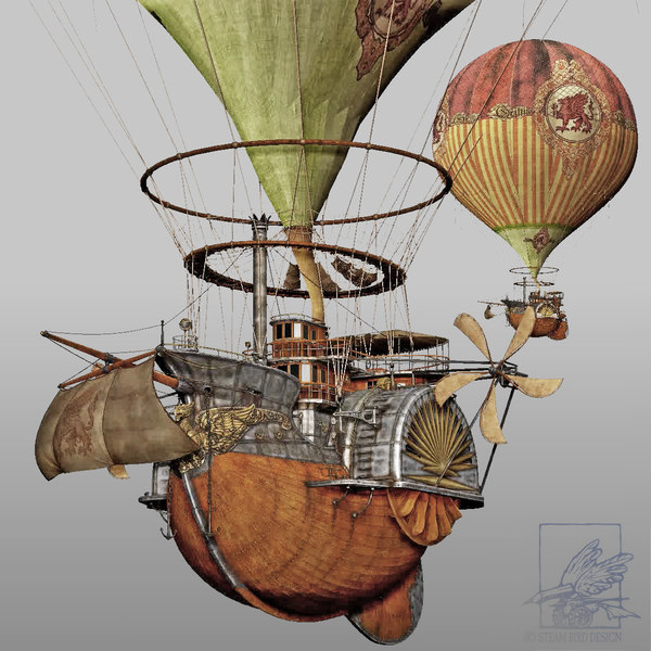 steampunk steam airship 3d 3ds