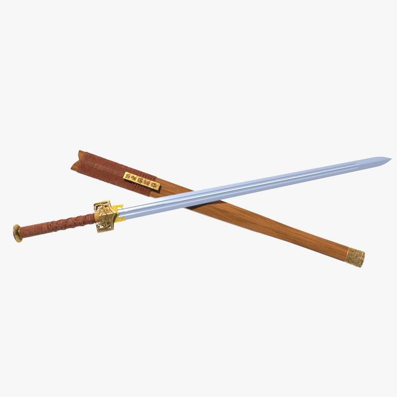 3d chinese sword jian model