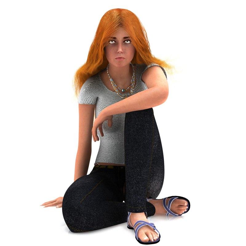 3d woman hair model