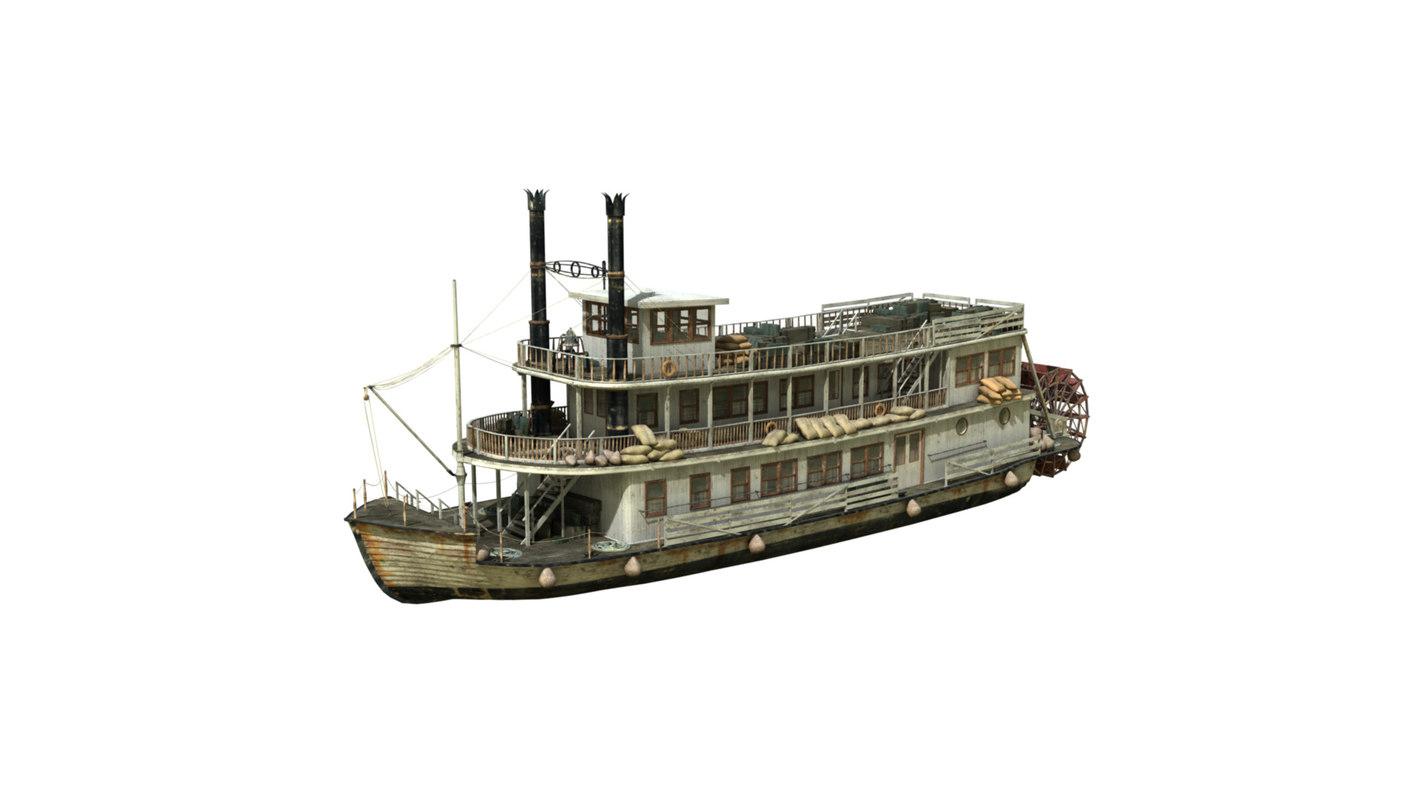 3d model boat steamboat