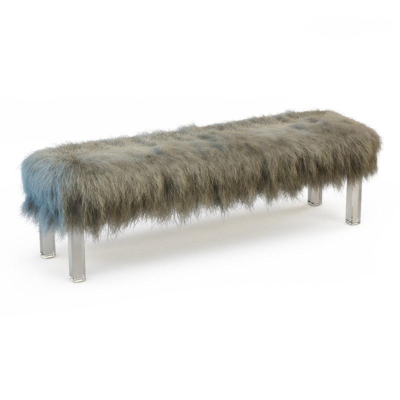 3d mongolian lamb bench model
