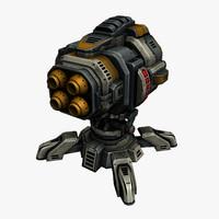 missile cannon 3d obj