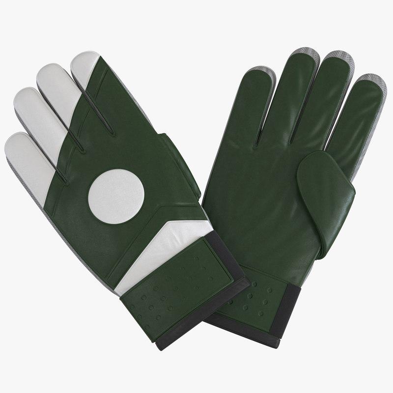 3d goalie gloves green model