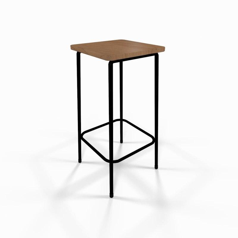 wooden bar stool chair obj