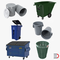 3ds garbage cans 2 modeled