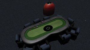 3d model of poker chips table chairs