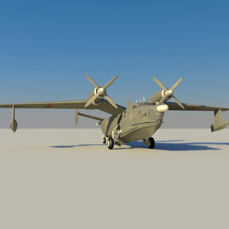 3d model be-12 seaplane