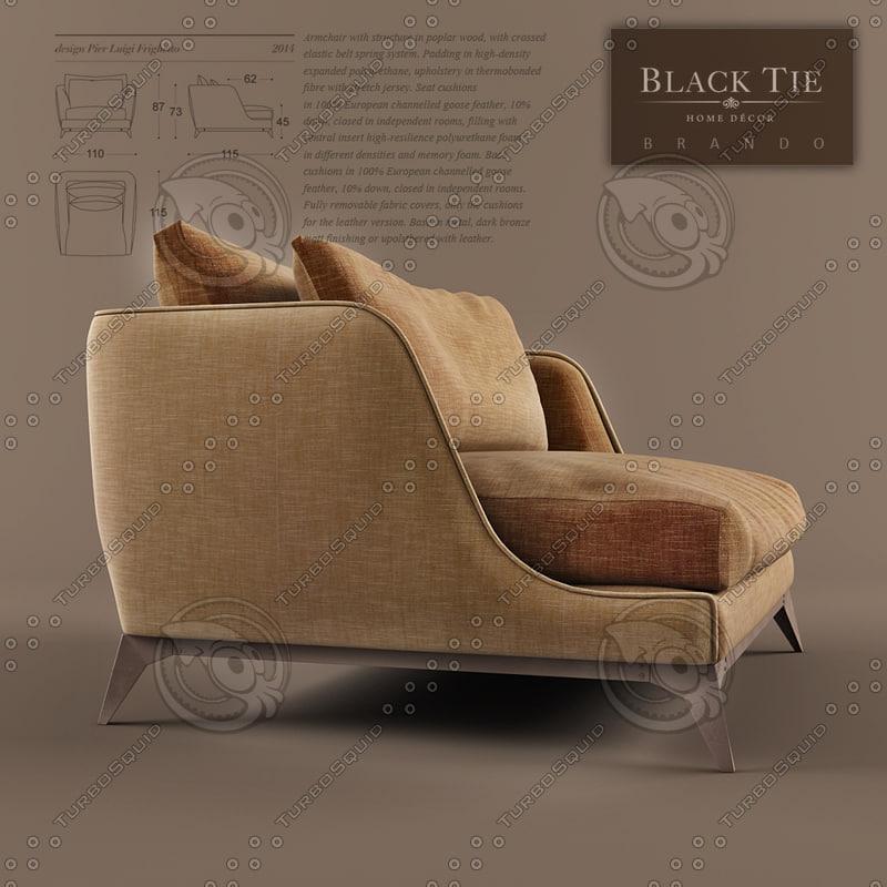 3dsmax armchair brando black