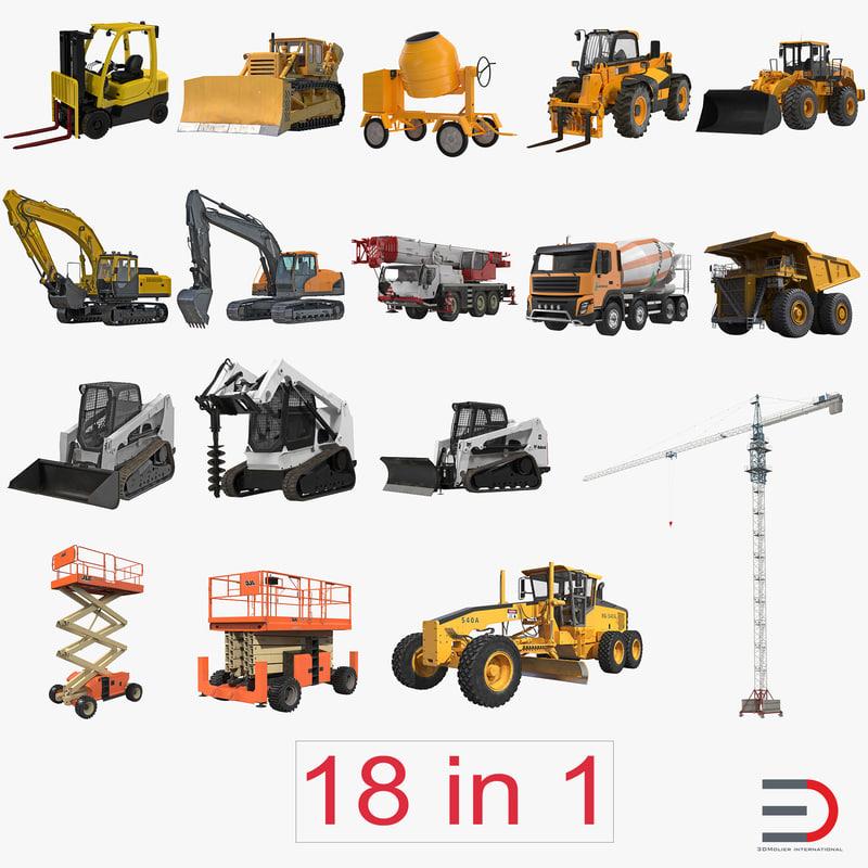 industrial vehicles big 3d obj