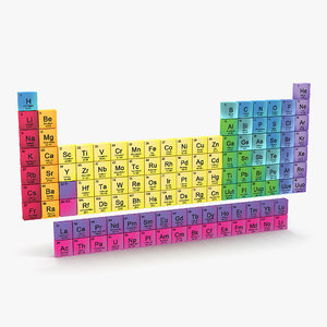 periodic table 3d obj